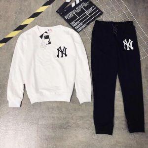 MLB运动套装春秋情侣NY洋基队圆领纯棉外套大码两件套卫衣男