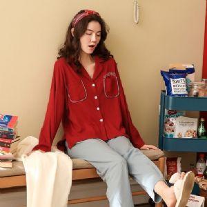 睡衣女春秋纯棉长袖两件套装学生韩版甜美大码可外穿家居服女冬季