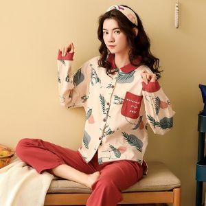 睡衣女春秋纯棉长袖两件套装学生韩版清新大码可外穿家居服女冬季