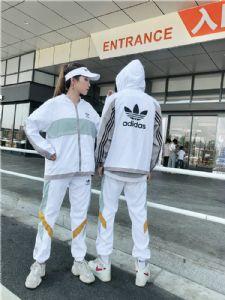 adidas三叶草复古拼接撞色长裤外套