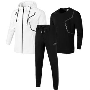 秋阿迪达斯套装男运动服两件套长袖连帽外套小脚长裤女三件套大码