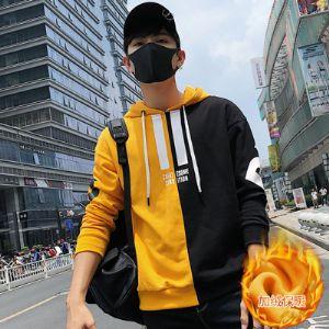 韩版修身连帽加绒卫衣时尚潮男冬季保暖外套