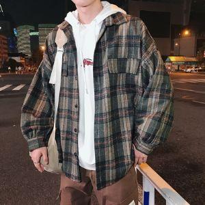 18秋冬新款港风男格子衬衣学生百搭衬衫上衣外套潮CB1382