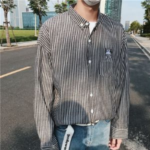 2019春季新款条纹衬衫男长袖扣领PCB103