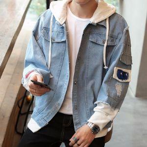 牛仔外套男韩版学生帅气宽松个性潮流破洞港风假两件连帽夹克褂子