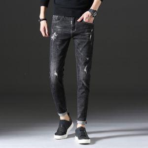时尚潮牌 牛仔长裤 3606 黑色 模特图 挂拍图