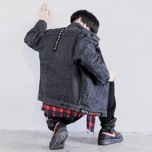 春秋韩版潮流宽松帅气学生外穿褂子黑色牛仔衣