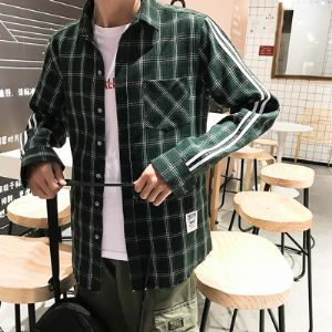 格子衬衫男长袖韩版潮流春季男士衬衣青年文艺港风学生休闲外套