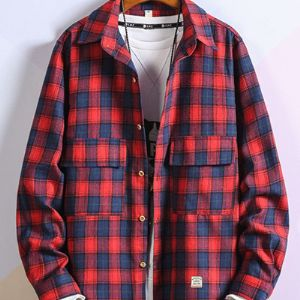 潮牌长袖衬衫男春季韩版青年修身格子商务英伦男士