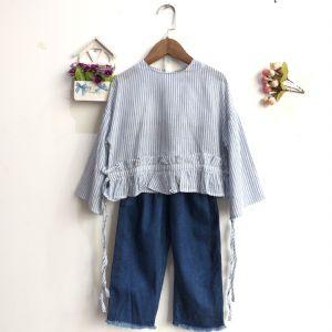 19年吉木吉千春季新款童装专柜分份走份韩版T恤裤子套装批发