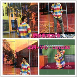 THOM BROWNE汤姆布朗18AW色织彩虹格纹衬衫色织牛津纺