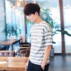 2019夏季新款男士短袖t恤半袖体��条纹韩版潮流男装修身