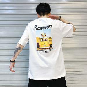 夏季宽松男士短袖t恤圆领五分袖学生帅气半袖中袖上衣服
