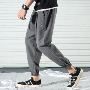 夏季潮牌工装裤男薄款潮流九分裤宽松嘻哈大口袋哈伦束脚裤