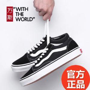 工厂直批 万斯VANS黑白OS经典款翻毛皮帆布鞋男女鞋