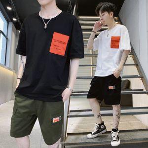 2019夏季短袖套装潮流五分裤圆领宽松休闲T恤韩版新款套装