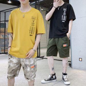 男士套装2019新款韩版五分沙滩裤圆领个性