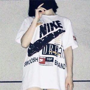 耐克Nike日本代购短袖女纯棉水印T恤宽松半袖圆领潮流 96