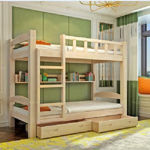 窗栏阶梯滑箱床 防城儿童学生床 梧州实木田园家具
