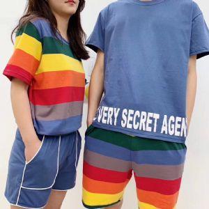 韩国东大门彩虹情侣套装,夏季情侣套装