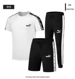 Puma彪马短袖T恤男夏季运动套装三件套女款圆领半袖短裤休闲